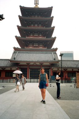 Maria at Sensoji's 5 story pagoda