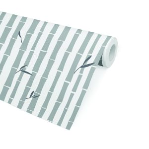 BAMBOO GREY Peel and Stick Wallpaper By
