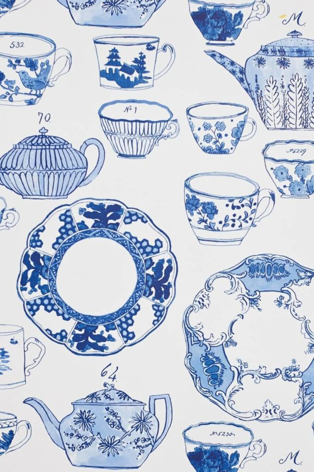 For a Little Kitchen Whimsy: Delft Dinnerware Wallpaper by Molly Hatch