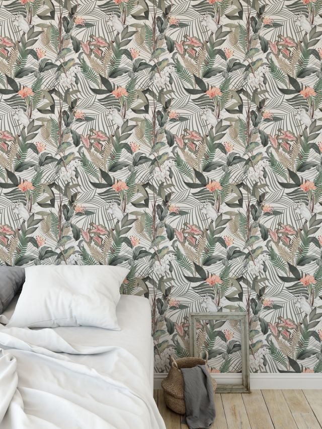 TROPICAL JUNGLE WHITE Peel and Stick Wallpaper By Marina Gutierrez - 2ft x 16ft