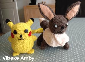 Pikachu & Eevee hækleopskrift, af Vibeke Amby