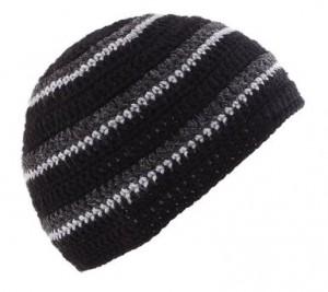 POM London Handmade Crochet Beanie Skull Hat (Black, Charcoal, Gray)