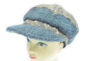 Cute Chunky Knit Newsboy Lace Hat with Front Visor