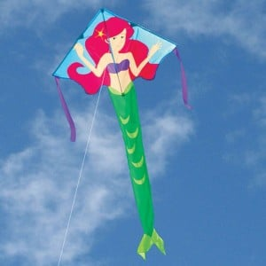 Kite - Large Easy Flyer - Arianna Mermaid (46 X 90) with 300 Ft 30lb Test Kite String and Winder