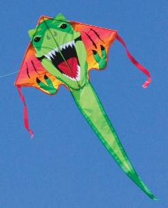 Large Easy Flyer Kite - T-Rex Dinosaur (46 X 90) with 300 Ft 30lb Test Kite String and Winder