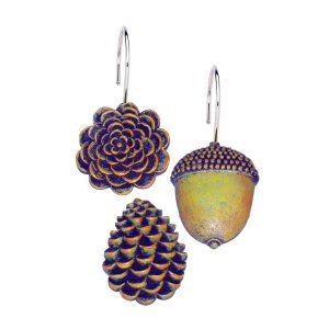 Carnation Home Fashions Pine Cones Resin Shower Curtain Hooks Set of 12
