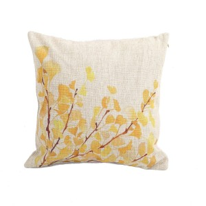 Createforlife Home Decor Cotton Linen Square Pillowcase Yellow Flower Tree Printed Throw Pillow Sham Cushion Cover 18 x 18