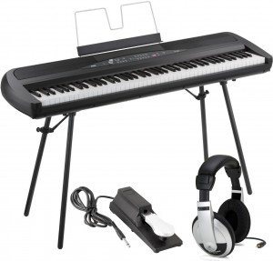 KORG SP-280 BK Digital Piano 88 Key Weighted Hammer Action w Stand, Sustain Pedal, Headphones