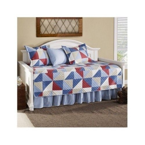 Lovely Modern Cotton Red Blue White Geometric Daybed Bedding Set with Shams daybed Includes Scented