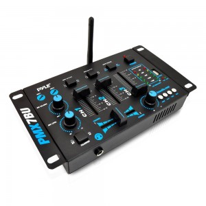 Pyle PMX7BU Bluetooth 3-Channel DJ MP3 Mixer, Mic-Talkover, USB Flash Reader, Dual RCA & Microphone Inputs, Headphone Jack