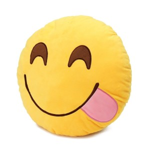 Round Oi Emoji Smiley Emoticon Cushion Pillow Stuffed Plush Toy Doll Yellow(glutton+free Yiwa Gifts) Model