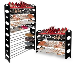 Shoe Rack Storage Organizer, Best Portable Shoe-rack Bench Wardrobe Closet Holds up to 50 Pairs of Shoes Collection -Adjustable, Stackable up to 10 tiers- E