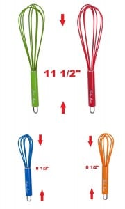 Silicone Coated Wire Whisk with Stainless Steel Handles, Set of 4, Colorful