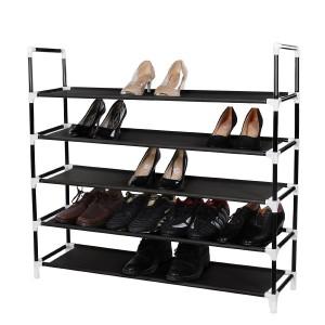 Songmics 5 Tiers Shoe Rack Space Saving Shoe Cabinet Storage Tower Organizer Black ULSH55H