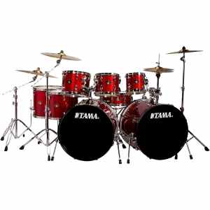 Tama Imperialstar 8-Piece Double Bass Drum Set with Meinl HCS Cymbals Candy Apple Mist (Candy Apple Mist)