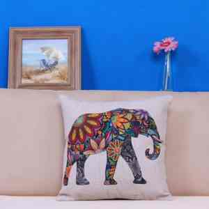 WayHomeDecor Cotton Linen Decorative Throw Pillow Case Cushion Cover Cute Elephant 18 X18