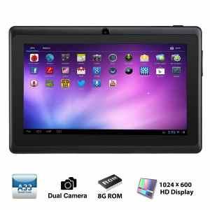 Alldaymall A88X 7'' inch Quad Core Google Android 4.4 KitKat Tablet PC , HD Dual Camera, 1024x600 HD Display, 8GB Nand Flash, Bluetooth, Google Play Pre-load,