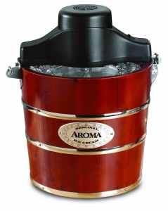 Aroma 4-Quart Traditional Ice Cream Maker, Fir Wood