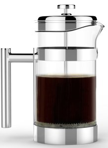 Coffee Press - Vero French Press - Best 1 Liter (34oz) Coffee and Tea Maker - Premium 1810 Polished Stainless Steel & Heat Resistant Glass Carafe