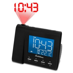 Electrohome Projection Alarm Clock with AMFM Radio, Battery Backup, Auto Time Set, Dual Alarm, Sleep Timer, Indoor TemperatureDayDate Disp