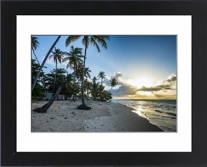 Framed Print of Sunset at the beach of Pigeon Point, Tobago, Trinidad and Tobago, West Indies
