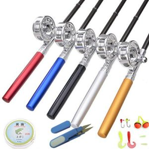 KINGMAK Fishing Rod Pen with Fly Reel Aluminum Alloy Extended 38 inch