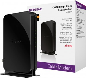 NETGEAR DOCSIS 3.0 High Speed Cable Modem Certified for Comcast XFINITY, Time Warner Cable, Cox, Charter & more(CM500-100NAS)