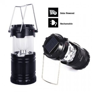 Solar Rechargeable Camping Lantern,unigear Collapsible Portable LED Camp Light Flashlight Lamp Battery Powered for Sports, Camping, Hiking, Fishing, B