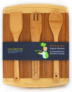 Bamboo Wood Cutting Board Medium Size with BONUS 3-Piece Kitchen Utensil Christmas Holiday Gift Set - Wooden Spoon, Spatula & Salad Tongs - Best Serving Tools, Cooking Gadgets & Accessories