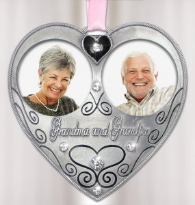 Bereavement Sympathy Memorial Grandma Grandpa Double Photo Frame Ornament