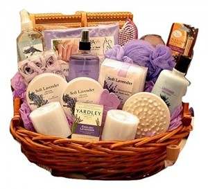 Calming Lavender Bath and Body Gift Basket for Her