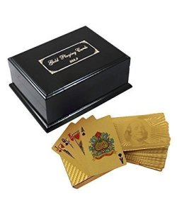 Deck of 24k Gold Foil Plating Poker Plastic Playing Cards with Mahogany Wood Box