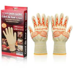 Extreme Heat Resistant Grilling Gloves for Cooking, BBQ, Oven and Baking - Light Weight Flexible BBQ Gloves - Kevlar and Silicone Insulated Protection Up To 932°F, 13 Long, 2 XL Gloves