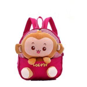 Generic Kids Gift Ideas for Kids Boys Girls Canvas School Bag Animal Cartoon Backpack Satchel School Book Bag (Rose red)