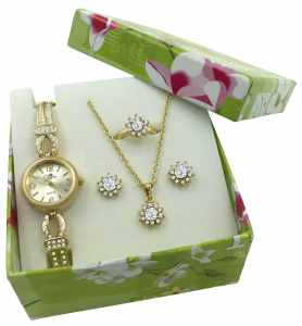Gold Ladies Watch Jewelry Birthday Christmas Gift Set
