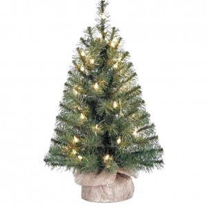 Holiday Time Xmas Pre-Lit 2' Noble Fir Artificial Trees, Clear Lights, Burlap Base Christmas Tree Stand (1)