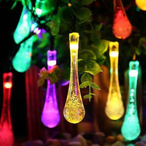 Icicle Solar LED Christmas String Lights Water Drop Decorative, 20leds 8  Modes Fairy Lighting For