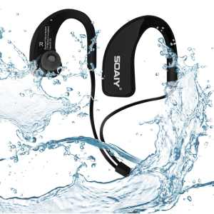 SOAIY® Waterproof Sweat-proof Sports Wireless Bluetooth 4.0 HD Stereo Headphones, In Ear Earphones Noise Canceling Headset with Mic, Earbuds for Running Jogging Hiking Workout Gym Exercise (Black)