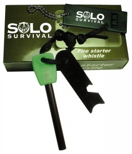 Solo Survival Fire Starter Kit Magnesium Flint Steel Rod Striker. Campfire, Camping, Charcoal Bbq Grill Lighter, Emergency Whistle, Hiking, Prepper Backpack, Search and Rescue.