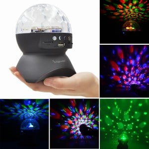 Stage Lights, LED Christmas Decoration Lights Magic Effect Disco Ball Lamps With Wireless Bluetooth Speaker Mini Card Slot Rotating