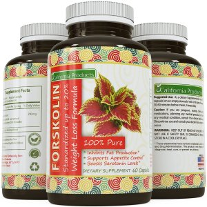 100% Pure Forskolin Extract 60 Capsules - High Quality Weight Loss Supplement for Women & Men