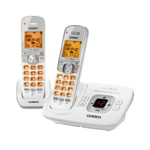 D1780-2W DECT 6.0 Expandable Cordless Phone with Digital Answering System, White, 2 Handsets