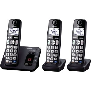 Panasonic KX-TGE233B DECT 6.0 Expandable Digital Cordless Answering System, 3 Handsets
