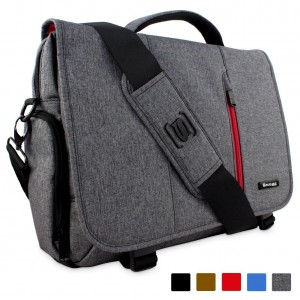 Snugg™ Crossbody Shoulder Canvas Messenger Bag in Grey - Fits Laptops up to 15.6