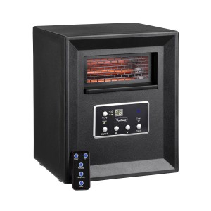 VonHaus 4 Element Infrared Fan Heater with Remote Control, Digital Display & Timer - Black Electric Portable Indoor Space Heater