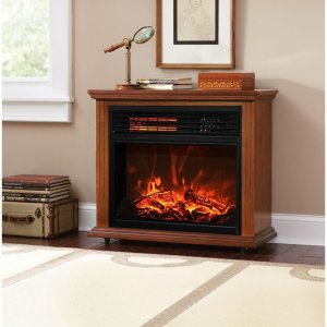 XtremepowerUS Infrared Quartz Electric Fireplace Heater Oak