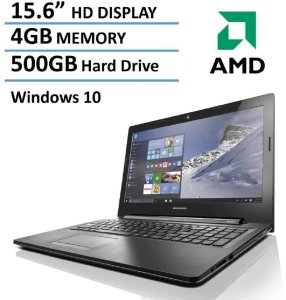 2016 New Edition Lenovo 15.6-inch Premium Laptop, AMD Dual-Core Processor, 4GB Memory, 500GB Hard Drive, HD LED Backlit Display (1366 x 768), DVD Burner, HDMI, VGA, Bluetooth, Webcam, Windows 10