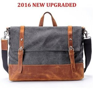 Canvas and Leather Messenger Bag, RUFFRYDER 16.3 inch Genuine Crazy-horse Leather Briefcase Travel Duffle Canvas Cross Body Laptop Briefcase- Fit 15 Inch Laptop