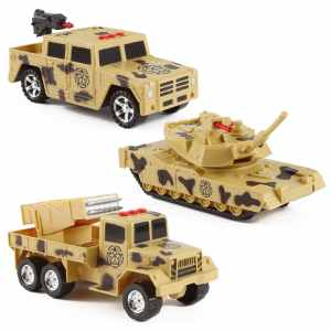 3-in-1 Military Vehicles Toy PlaySet w Lights & Sounds (Tank, Humvee, Anti-Aircraft)