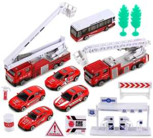 VT ZZ Fire Rescue Dept Mini Diecast Children's Kid's Toy Vehicle Playset w Variety of Vehicles, Accessories